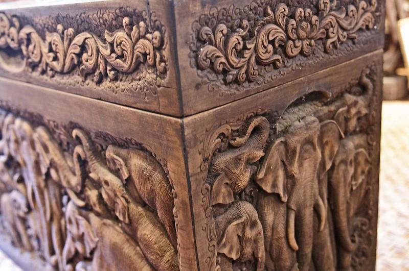 Teak Chest carving